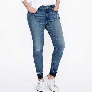 High waisted raw hem ankle leggings denim jeans 16